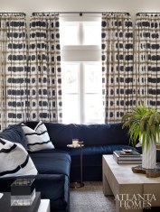 An oversize velvet sectional from Lee Industries anchors the living room.