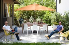 In contrast to the welcoming front porch that is constantly buzzing with activity, a new courtyard in the back is idyllic for more peaceful, quiet moments. When the couple does choose to entertain alfresco, though, a teak table by Kolo Collection and chairs from DWR are ready for dinner parties.