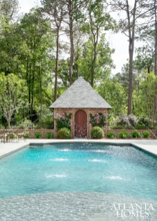 Water elements were a crucial component for the outdoor space, so fountains were added to the pool for both sound and visual appeal.