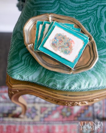 The designer's mother, Monteigne Mathison, created miniature watercolor paintings as party favors for guests at this holiday affair.