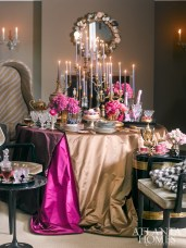 """Envisioning a tabletop worthy of """"New Year's Eve with the Thai Silk King,"""" the Studio at Jim Thompson set out to create a ravishingly royal moment in which silk satin overlays create a couture statement."""