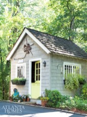 Carole's cedar shake-shingle potting shed is ideal for hands-on tasks.