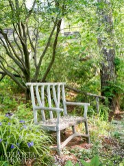 A faux-bois bench overlooks the pond.