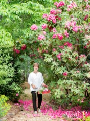 Carole McWilliams tends her collection of Anna Rose Whitney rhododendrons.