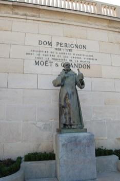 Dom Pérignon's statue greets visitors at Maison Moët & Chandon.