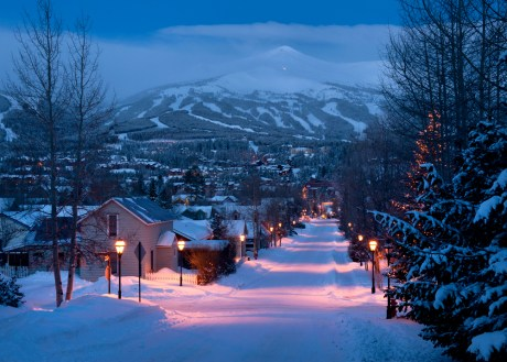 Sited at 9,600 feet above sea level, Breckenridge, Colorado, boasts a bustling downtown with plenty of shops, galleries and restaurants.
