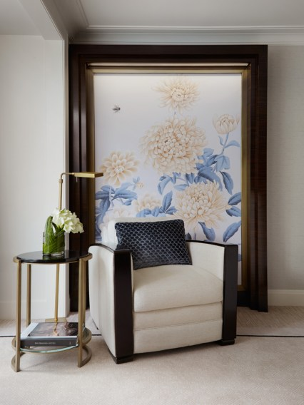 Embroidered artwork centerpieces reference Chicago's official flower, the chrysanthemum.