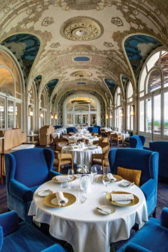 Dining room at the Hotel Royal/Evian, located on the French side of Lake Geneva