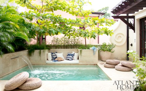 A rooftop plunge pool and adjacent cabana connect the two formerly separate properties.