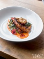 Octopus with escarole, chickpea, pickled red onions, and roasted pepper emulsions.