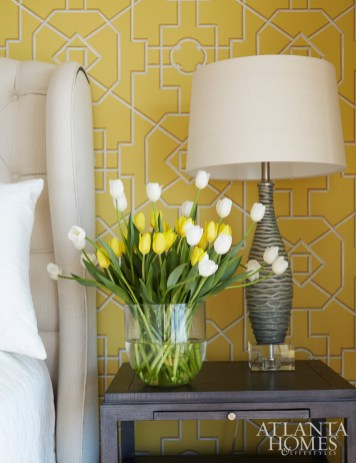 Thibaut's bamboo lattice is a sunny addition in the guest room.