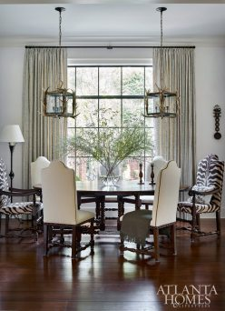 Thanks to a 60-inch round dining table and six high-back chairs covered in a high-tech DeLany & Long fabric, this casual dining nook is anything but basic. Drapery fabric, Galbraith & Paul.