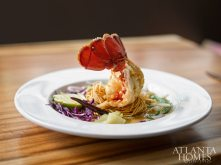 Cold water fried lobster tail wrapped with egg noodles.