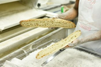Tour attendees also enjoy a behind-the-scenes look at baguettes in the making.