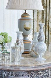 Decorative vessels in the master bedroom add a touch of glamour.