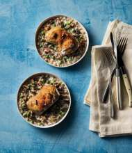 Chicken with yogurt barley and English peas