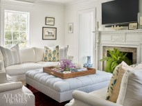 Efficient space planning was key in the living room, as the couple spends most of their time here, whether lounging with their son or entertaining guests.