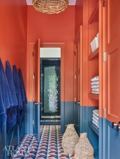 Cement tiles by Clé inspired the pool bath's bold color scheme.