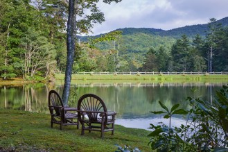 The lakefront property offers idyllic views.