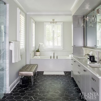 Savage added a chic touch to the master bath.