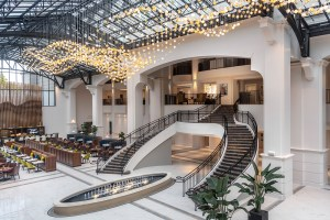 The Atrium features a stunning chandelier that mimics the rolling hills of North Georgia.