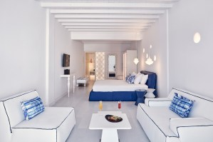 Bedroom suite interior at Katikies Mykonos.