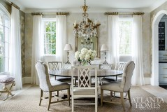 A silvery Gracie wallpaper softens an ethereal dining room by designer Susan Bozeman. Photo by Jeff Herr