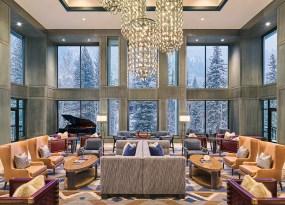 The Alpine-inspired Fireside Lounge is the resort's social center.