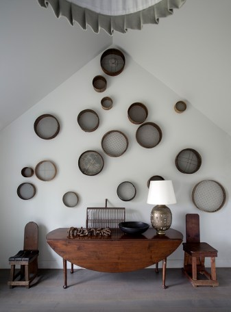 Nineteenth-century grain sieves take on a contemporary flair.