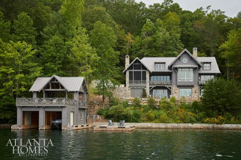 Architects Todd Pritchett and Craig Dixon incorporated local materials, like stones from nearby North Carolina and reclaimed wood from a local sawmill, to dress the home with classic Lake Burton style.