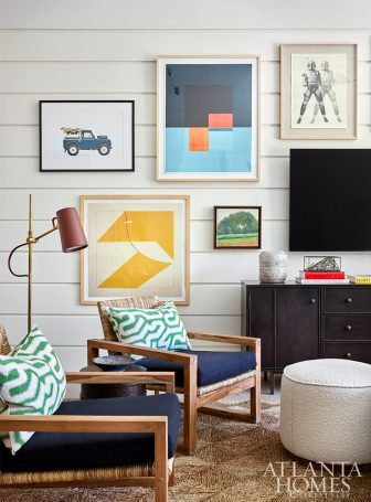 Bright and vibrant playroom with gallery wall