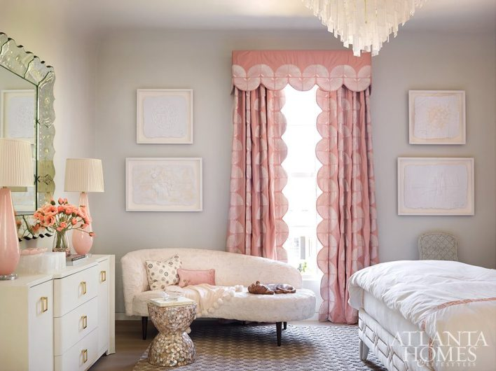 Art Deco bedroom sofa and drapery with scallop details