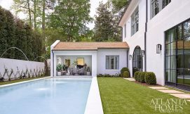 courtyard with pool and cabana