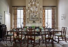antique dining room with chandelier