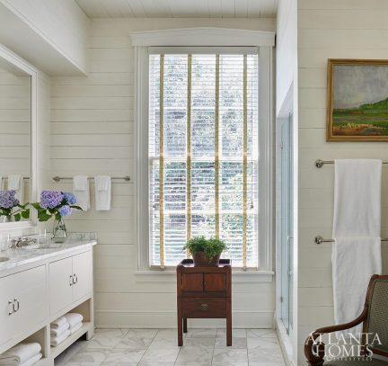 white bathroom with shiplap