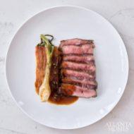 Strip steak with Pommes Anna and sauce au poivre.