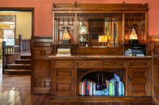 The original woodwork and built-in cabinetry were also preserved in the renovation.