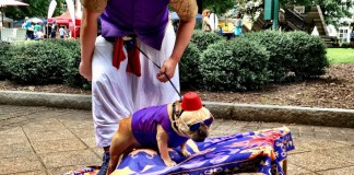 "Doggy Con, Blake and Super Murph as ""Aladdin"""
