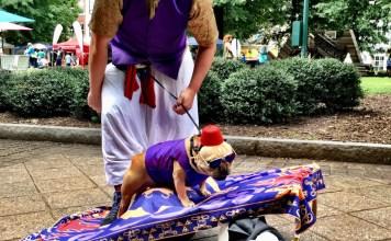 "Doggy Con, Blake and Super Murph as ""Aladdin"""