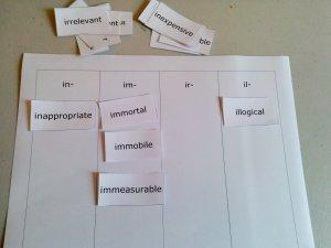 in family word sort
