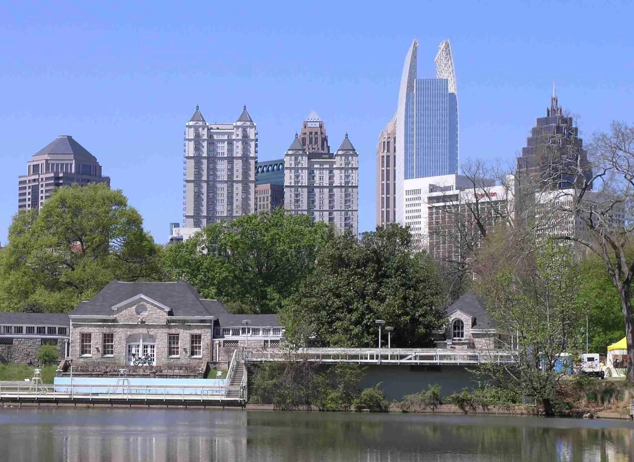 view of Atlantas Midtown Skyline from Piedmont Park