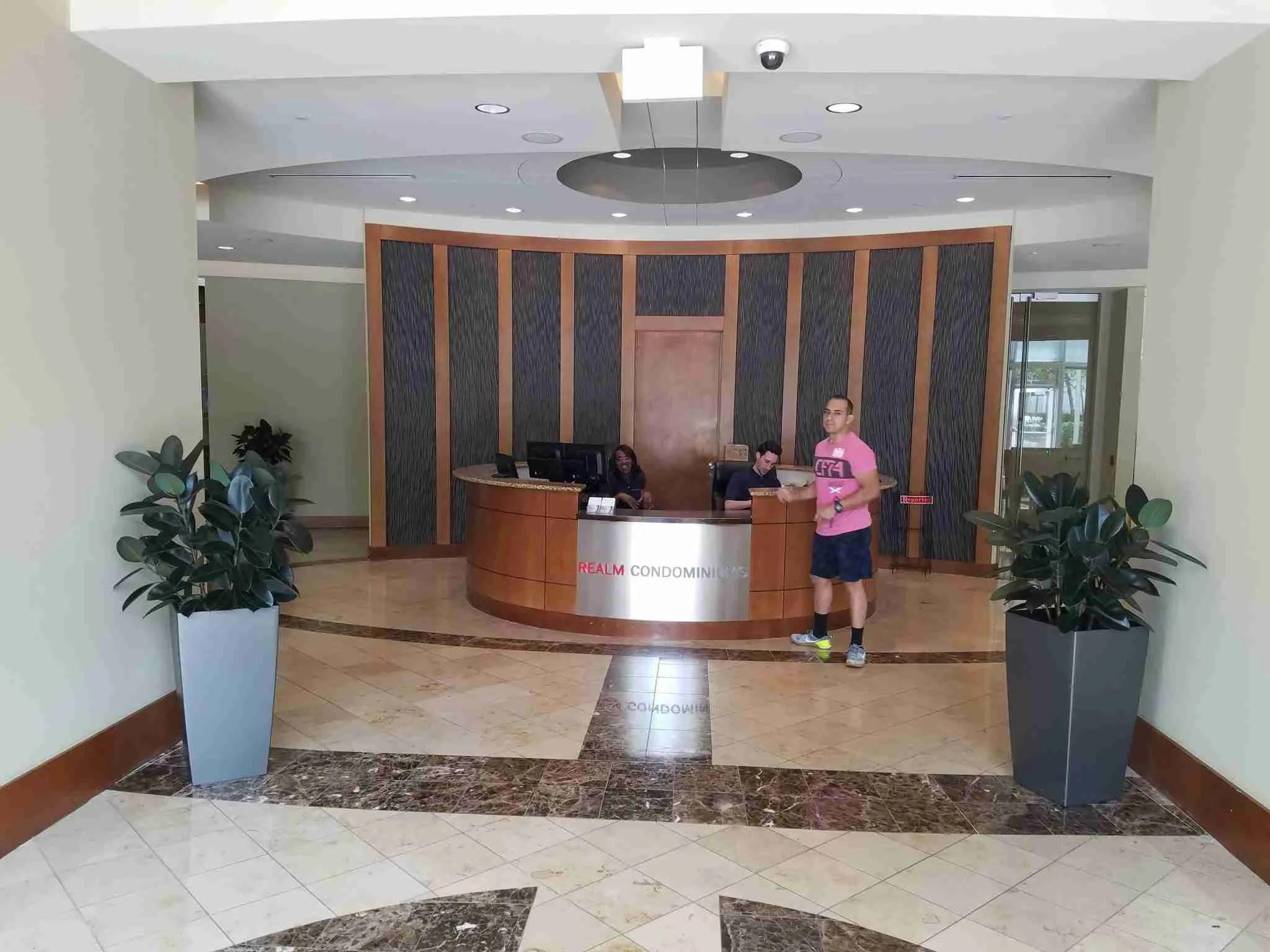 The Realm Condominium of Buckhead Entrance Lobby and Concierge Desk
