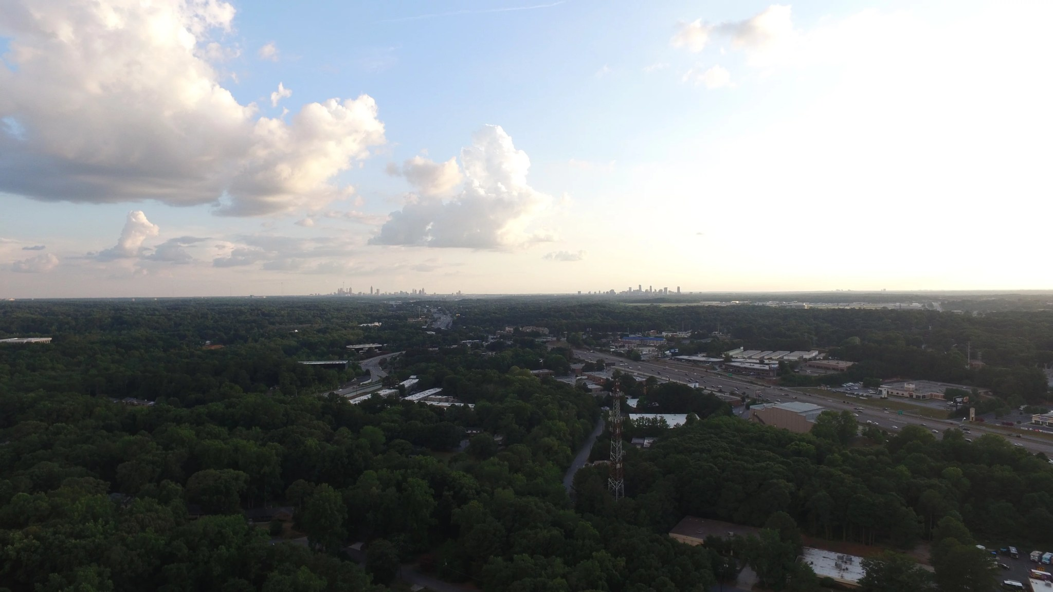 Image of Atlanta in background from Spaghetti Junction in Embry Hills