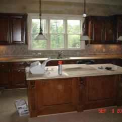 Stone Backsplash Kitchen Center Islands 3d