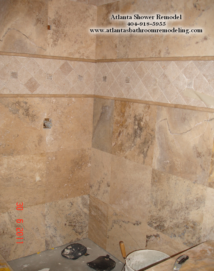 Atlanta Travertine Shower Remodeling Ideas and Pictures