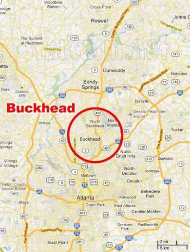 Buckhead Map Location In Atlanta GA