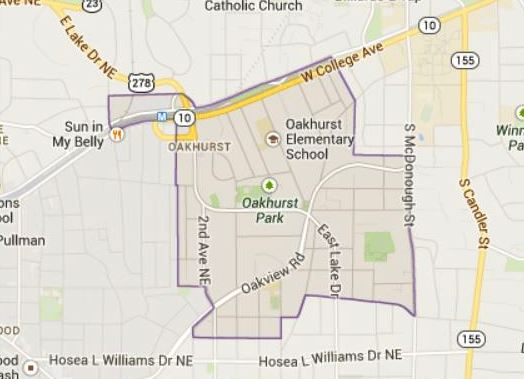 Map Location Of Oakhurst GA Atanta Neighborhood