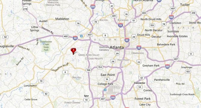 Atlanta Map Location Cascade Falls Community