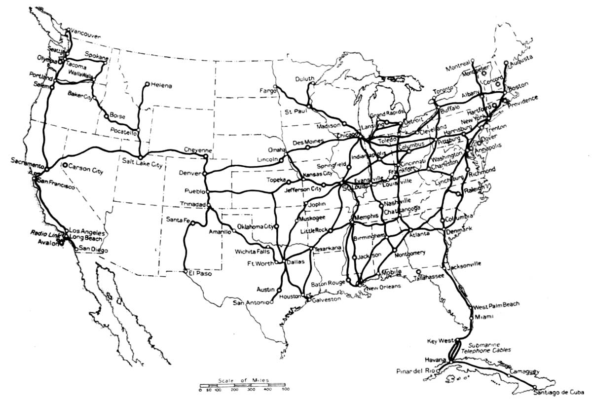 Fig 1 map showing the submarine cables and some of the important toll routes in the united states and cuba