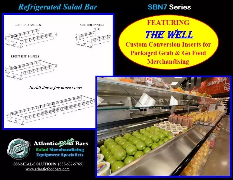 Atlantic Food Bars - Effectively and Temporarily Convert Your Salad Bar to Grab & Go Packaged Food Merchandising with The Well - Shown on In-Line Refrigerated Salad Bar - SB13839N7_Page_2